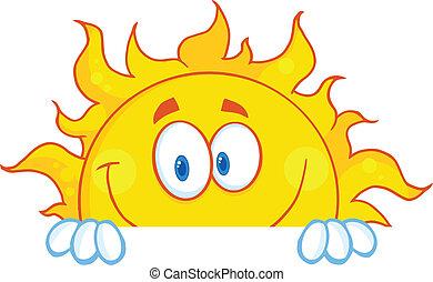 personagem, sorrindo, mascote, sol
