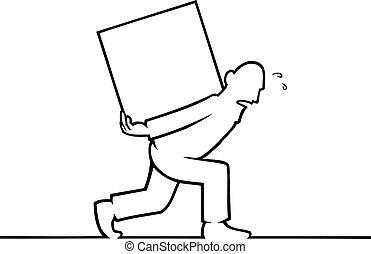 pesado, caixa, seu, costas, carregar, homem