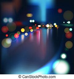 pesado, cidade, chuvoso, obscurecido, luzes, tráfego, defocused, molhados, estrada, night.