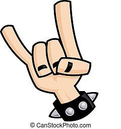 pesado, diabo, metal, mão, chifres, sinal