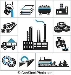 pesado, indústria, ícones