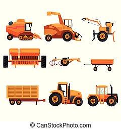 pesado, industry., diferente, jogo, apartamento, fazenda, crawler, equipment., usado, trator, vetorial, combinar, maquinaria, vehicle., harvester, desenho, reboque, agricultura, arar