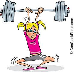 pesado, menina, musculação