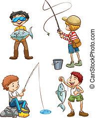 pesca, homens, esboço