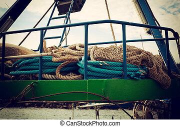 pesca, rolo, corda, usado
