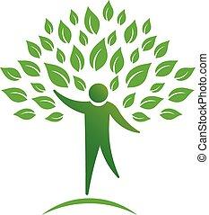 pessoa, árvore, logotipo
