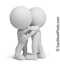 pessoa, abraço, -, amigável, 3d