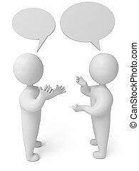 pessoa, conversação, render, 3d