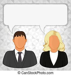 pessoa, dois, mensagem, negócio