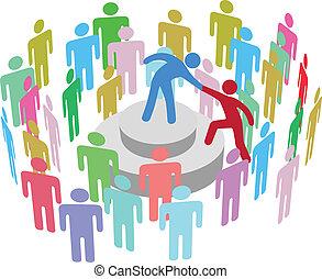 pessoa, falar, grupo, ajudas, líder
