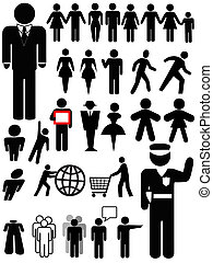 pessoa, símbolo, jogo, silueta
