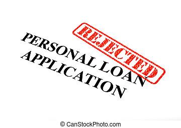 pessoal, aplicação, empréstimo, rejeitado