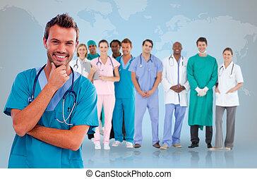 pessoal, doutor, médico, atrás de, ele, feliz