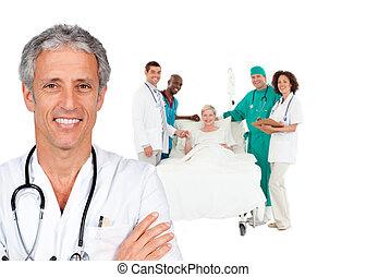 pessoal, doutor, sorrindo, atrás de, paciente, cama, ele, médico