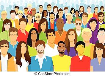 pessoas, étnico, torcida, casual, rosto, grupo, diverso, grande