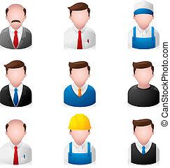 pessoas, -, ícones escritório