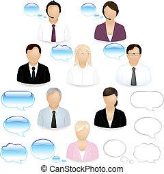 pessoas, ícones, negócio