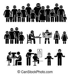pessoas, óculos, família, crianças, desgaste