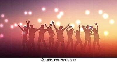 pessoas, 2305, desenho, silhuetas, bandeira, dançar