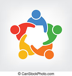 pessoas, 5, grupo, logotipo, equipe