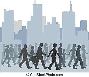 pessoas andando, torcida, skyline, cidade