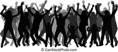 pessoas, aplaudindo, silhouette., torcida, dançar