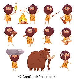 pessoas, caveman, caricatura, primitivo