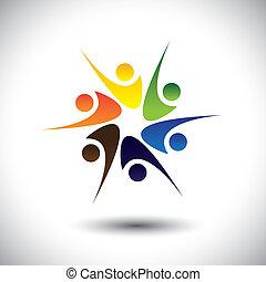 pessoas, celebrando, crianças, happiness., &, também, círculo, excitado, compartilhar, dançar, coloridos, alegria, tocando, gráfico, amigos, representa, escola brinca, pessoas, empregados, tendo, vetorial, divertimento, ou