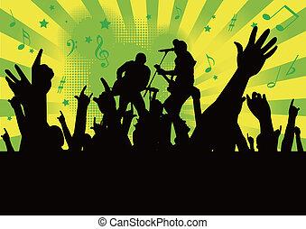 pessoas, cima, mãos, concerto