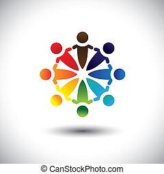 pessoas, coloridos, tendo, partido, divertimento, vetorial, círculo, &, conceito