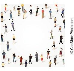 pessoas, copyspace., ilustração, vetorial, grupo