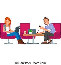 pessoas, coworking, escritório, ilustração, vetorial, isolado, branca