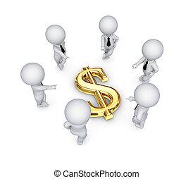 pessoas, dólar, ao redor, sinal., 3d, pequeno