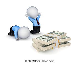 pessoas, dólar, packs., 3d, pequeno