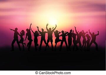 pessoas, dançar, 0504, silhuetas, pôr do sol, paisagem