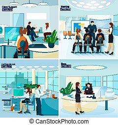 pessoas escritório, 2x2, desenho, conceito