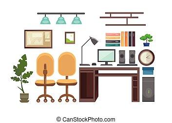 pessoas escritório, não, local trabalho, workspace, escrivaninha, interior, vazio