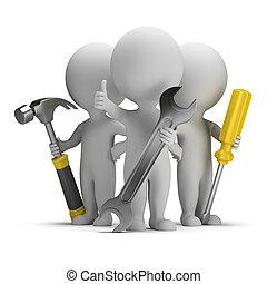 pessoas, -, excelente, pequeno, repairers, 3d