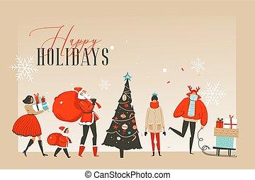 pessoas experiência, texto, abstratos, seu, mercado, ou, espaço, isolado, ilustrações, desenhado, natal, feliz, aterragem, mão, arte, feliz, cópia, caricatura, cartão, saudação, página, vetorial, lugar, tempo, divertimento, xmas