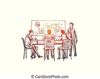 pessoas, fazer, ilustração negócio, concept., estratégia, sucedido, escritório, vetorial, esboço, plan.