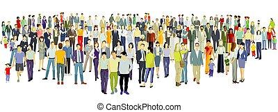 pessoas, fundo, grupo, grande, branca
