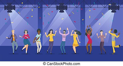 pessoas, grupo, danceteria, grande, dançar, jovem