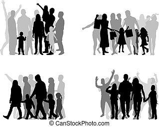 pessoas., grupo, silhuetas, família