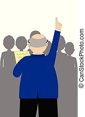 pessoas, homem negócios, falando, político, torcida, ou, ilustração, vetorial