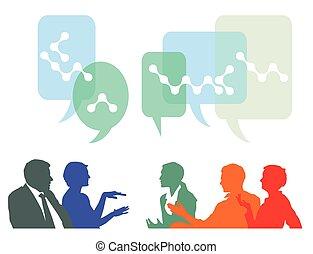 pessoas, idéias, discuta, câmbio