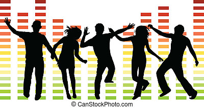 pessoas, ilustração, dançar