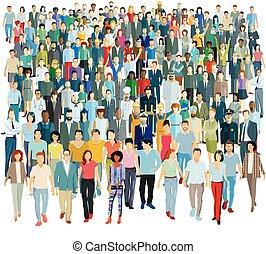 pessoas, ilustração, -, vetorial, grupo, grande