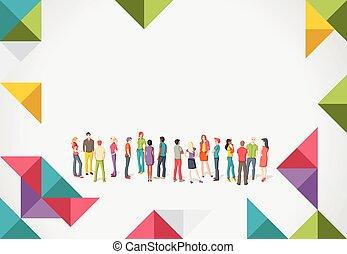 pessoas, jovem, grupo