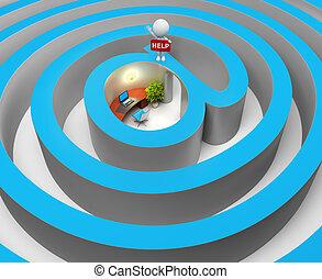 pessoas, labirinto, -, internet, pequeno, 3d