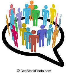 pessoas, mídia, fala, interior, social, círculo, bolha